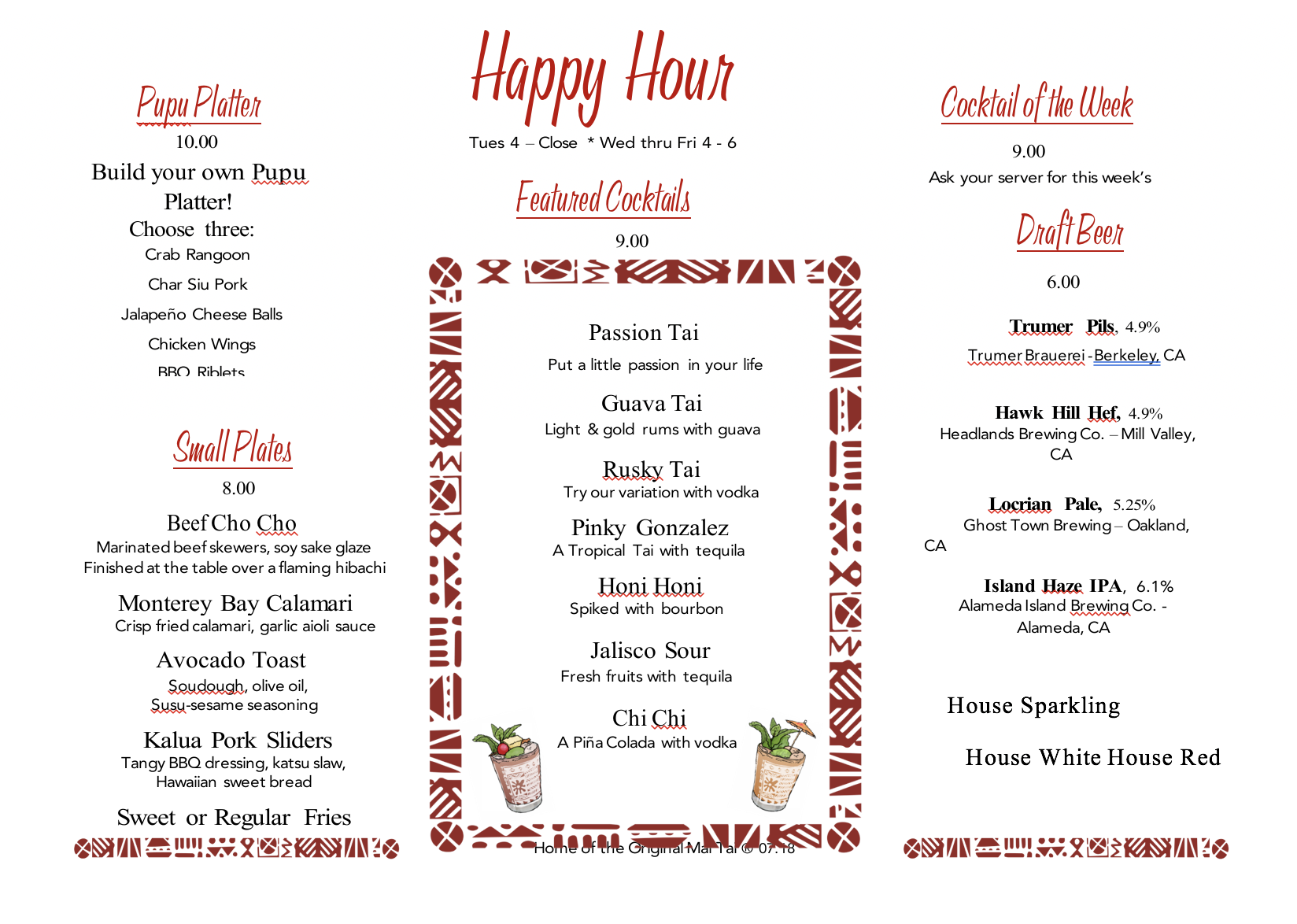 Happy Hour Trader Vics Emeryville - The table happy hour